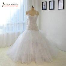 أعلى جودة أكمام الدانتيل زين حورية البحر Vestido دي فيستا لونغو الزفاف اللباس 2019