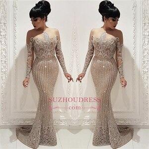 Image 5 - Sang trọng Beading Pha Lê Prom Dresses Dài Illusion Dài Tay Áo Nàng Tiên Cá Trang Phục Chính Thức Đảng Dresses với Belt Arabic Vestidos De Gala