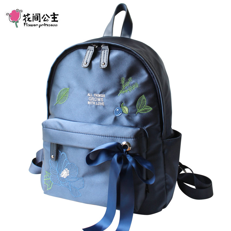 Flower Princess Nylon Backpack Women Ribbons Embroidery Original Design Casual School Bags for Teenage Girls Bags for Women 2019