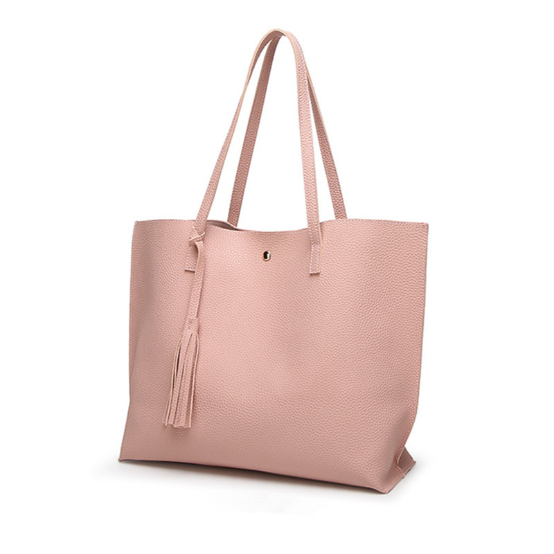 YBYT brand 2017 new simple leisure tassel solid women handbags hotsale lady shopping bag PU leather large capacity shoulder bags