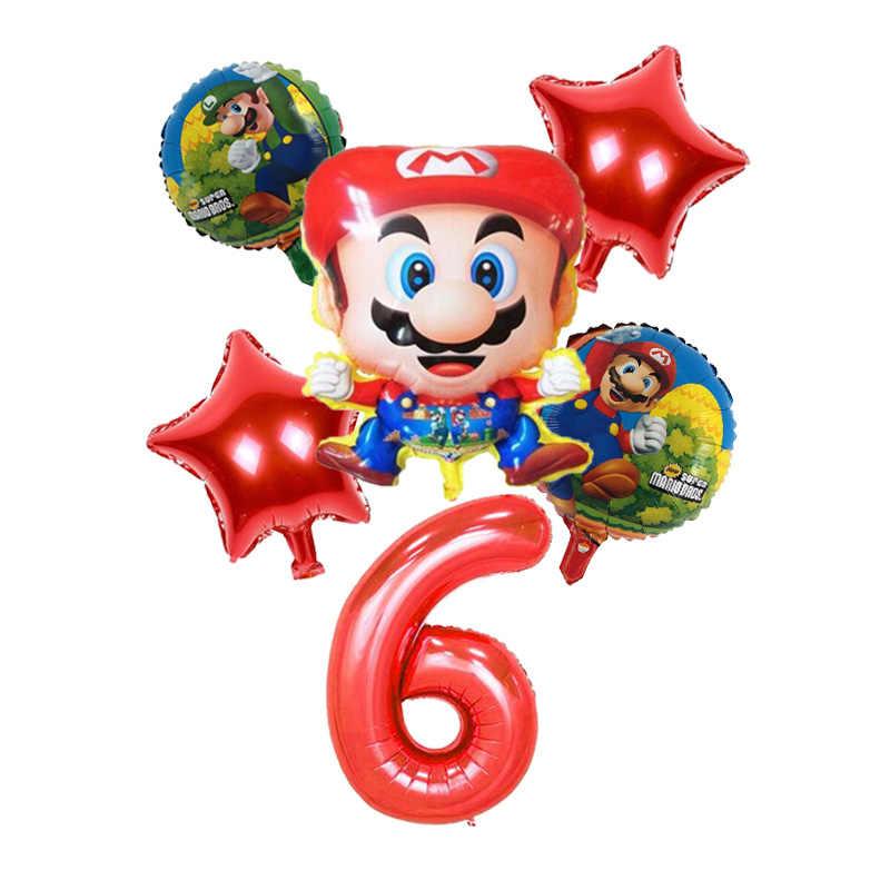 6 unids/set dibujo de Mario foil Balloon 32 pulgadas número globo cumpleaños de niño decoración de fiesta Mario Luigi Bros Mylar Globo Azul Rojo