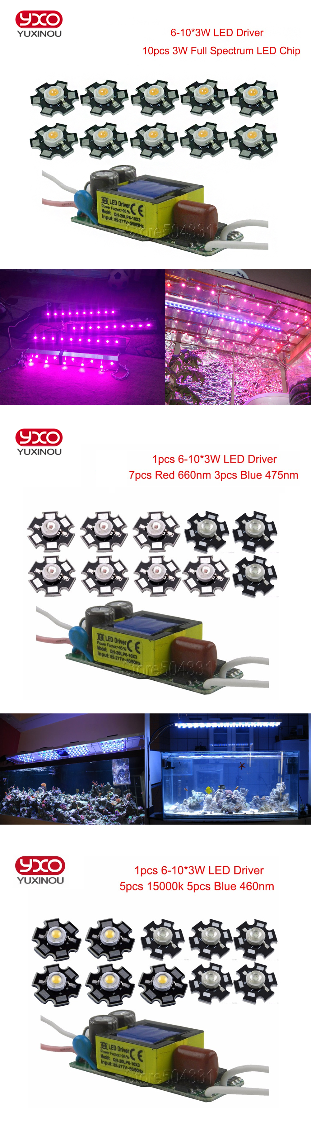 10pcs 3w Full Spectrum Led 380 840nm 1pcs 6 10x3w 600ma Driver Dc 512v 300ma Circuit Buy 3wled 01 02 03