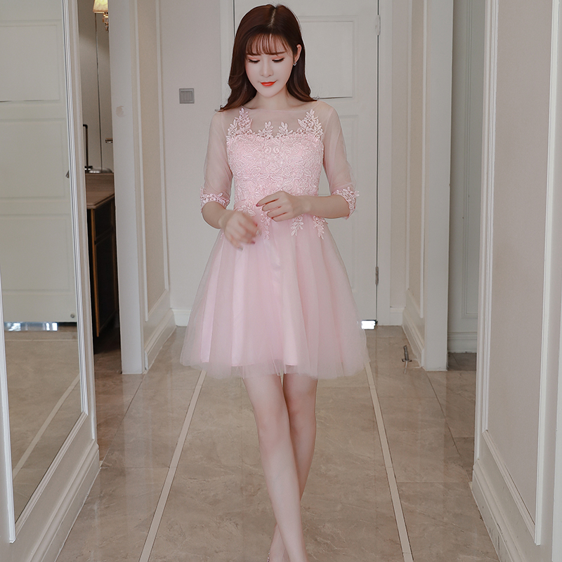 Pink Color Above Knee Mini Dress  Bridesmaid Dress  Wedding Guest Dress  Empire  Embroidery Party Show