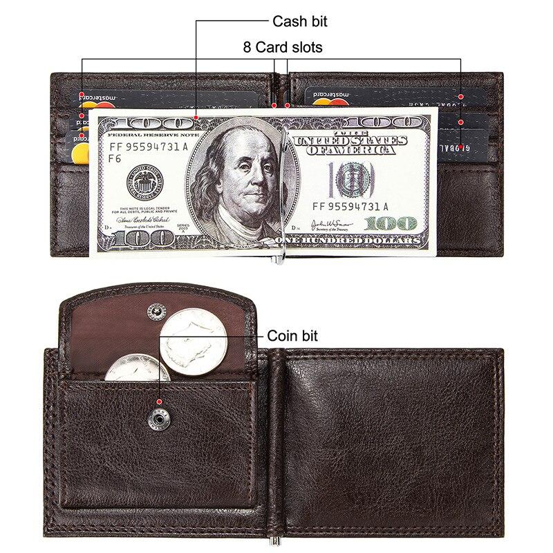 Black Men Card Holder Coffee Business Short Card Case For Men Male Money Vintage Bifold Brown Purse For Men Multi Card Slots