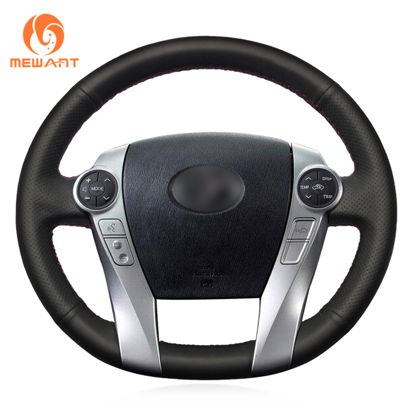 MEWANT Black Artificial Leather Car Steering Wheel Cover for Toyota Prius 2009-2015 Aqua 2014 2015