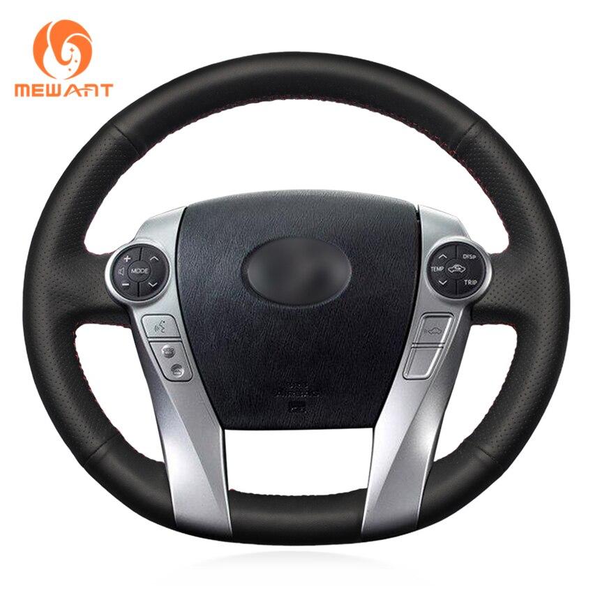 MEWANT Black Artificial Leather Car Steering Wheel Cover for Toyota Prius 30(XW30) 2009-2015 Prius C(US)2012-2017 Prius V(US) 43 2012