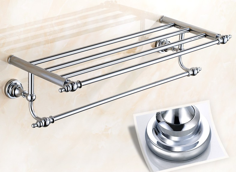 Bathroom Accessory Polished Chrome Brass Wall Mounted Bathroom Large Towel Rail Holder Rack Bar Towel Shelf aba901 antique brass double layer towel rail wall mount polished chrome towel rack towel towel bar bathroom shelf bathroom products rs6