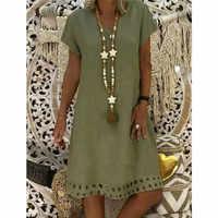 Large Plus Size Hot Sale 2019 Women's Solid Boho V-Neck Dress Short Sleeve Casual Dress Vestido Dropshipping W3