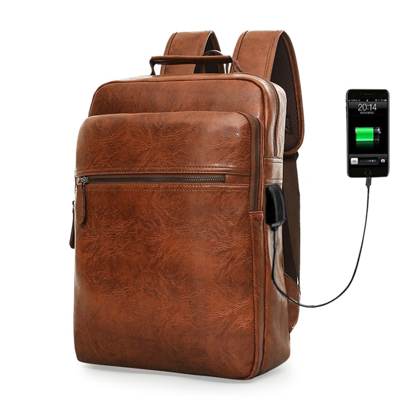 Fashion Laptop Men Backpack Large Capacity Travel Man Bag with USB Charging Backpacks PU Leather School College Waterproof image
