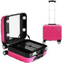 2016 New Large Capacity TravelLighted Makeup Case with Mirror On Wheels Trolley bag Rolling bag 4 bulbs with Mirror