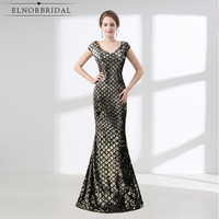 Elnorbridal Real Photo Mermaid Evening Dresses Sequins 2018 Robe De Soiree Ever Pretty Formal Women Gowns