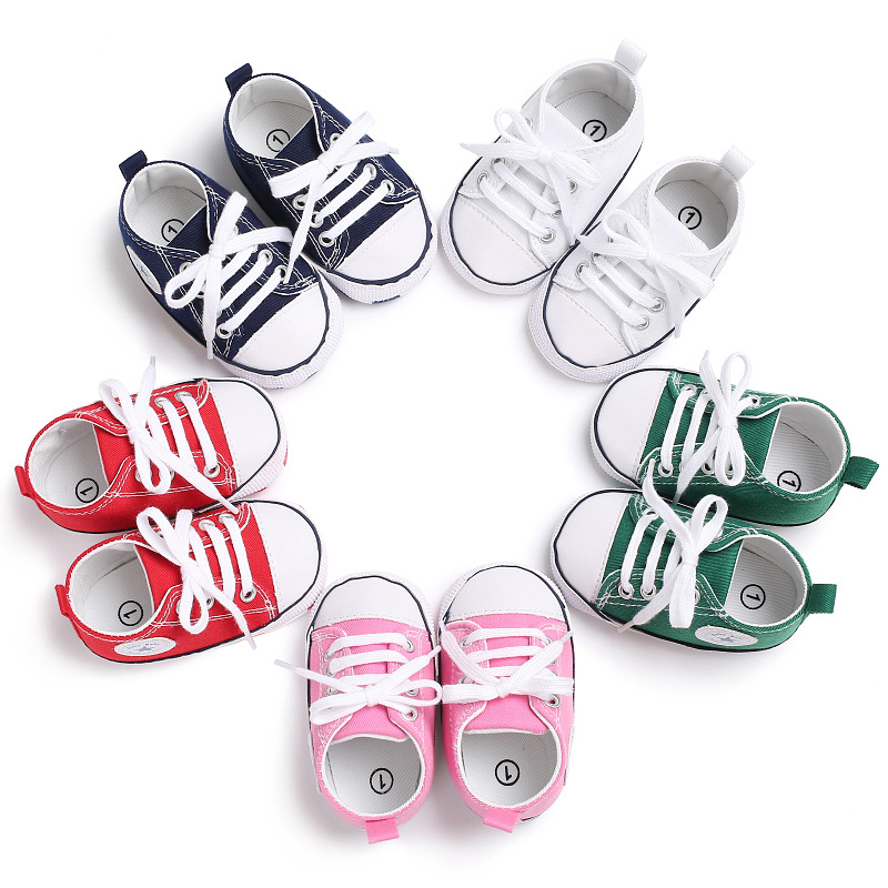 Canvas Newborn Baby Boy Girl Shoes Brand Soft Soles Non-slip Star Lace-Up First Walkers Toddler Crib Shoes Baby Sneakers 2015 fashion toddler shoes first walkers baby lace up flowers sapatos soft sole infants girl shoes