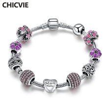Chicvie фиолетовый цветок Прямая поставка браслетов и подвески