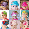 Nueva Baby Girl Band cabello Infant Toddler pluma del pavo real de la flor Headwear 9 colores disponibles