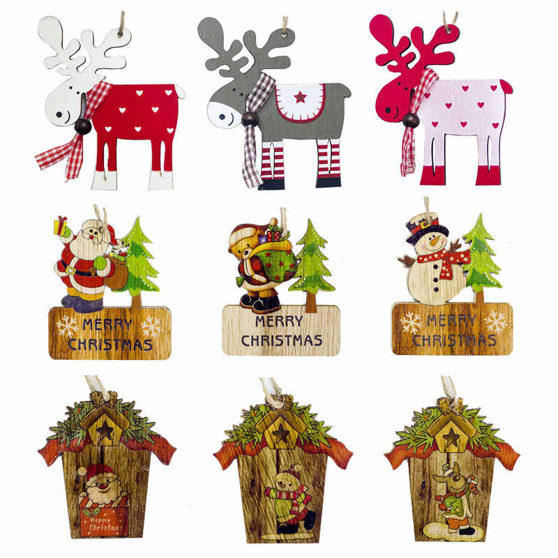 Newest Christmas Wooden Pendant Crafts Xmas Tree Ornaments Christmas Tree Decoration for Home Natal New Year Diy Decor 2020 Noel