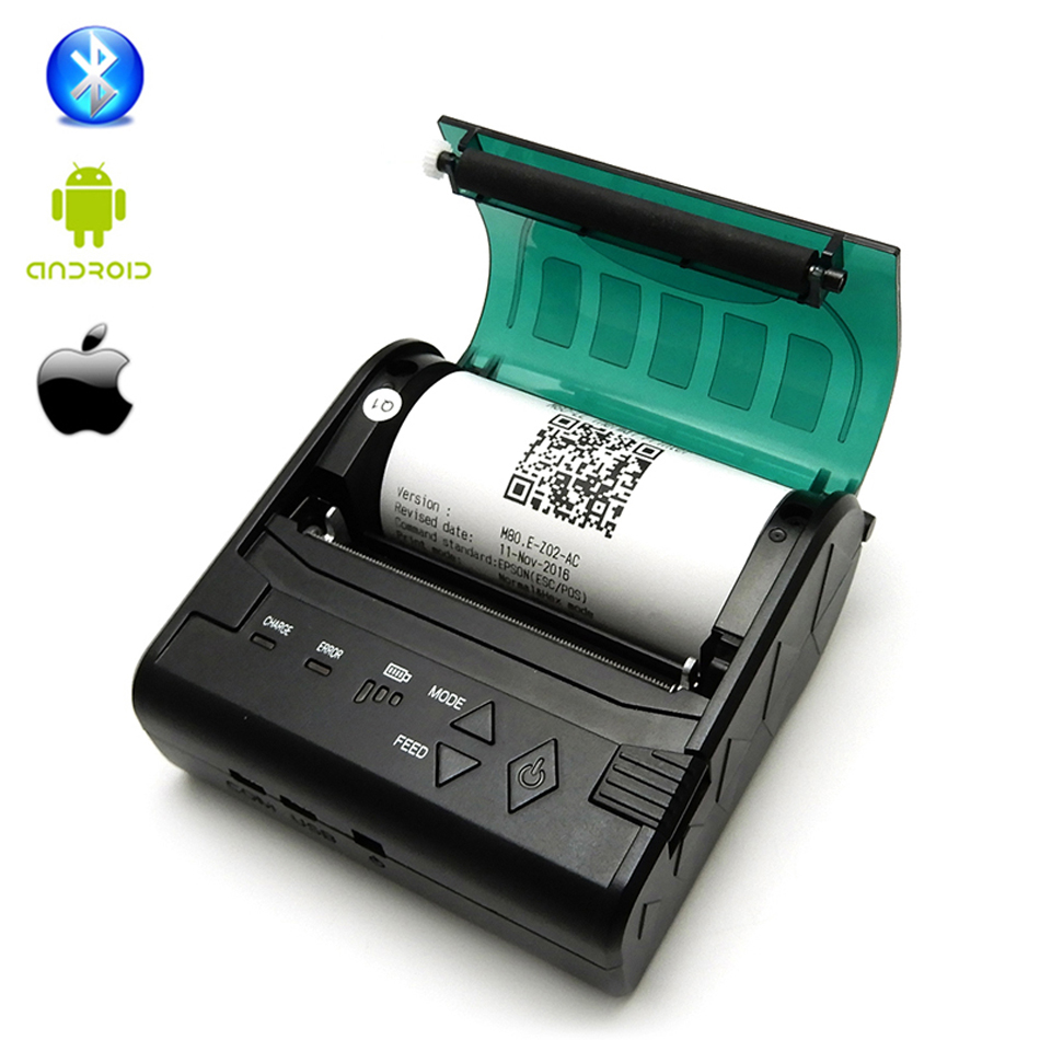 Mini POS 80mm Mobile Portable Thermal Receipt Bill Bluetooth Printer 80mm Support Computer Apple Android Free SDK Bluetooth 4.0 portable mini 80mm bluetooth thermal receipt printer pos bill printer 80mm for android pos support multi language eu us uk plug