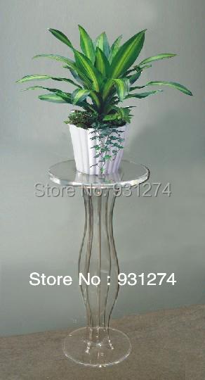 Transparente Acrílico Lucite Sprial Pedestal de Mesa Redonda, Plexiglass Rodada Vaso de Flores Estande