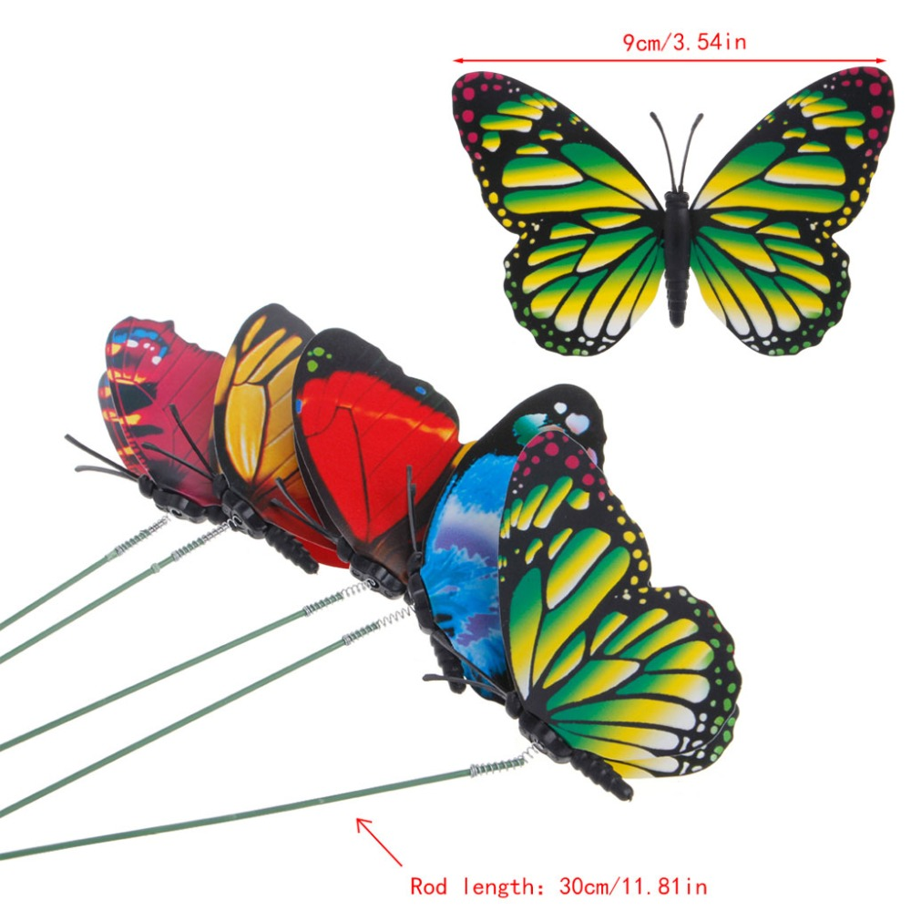 Butterfly lawn ornaments - 9cm Colorful Fairy Butterfly On Stick Ornament Home Garden Vase Lawn Art Craft Decor China