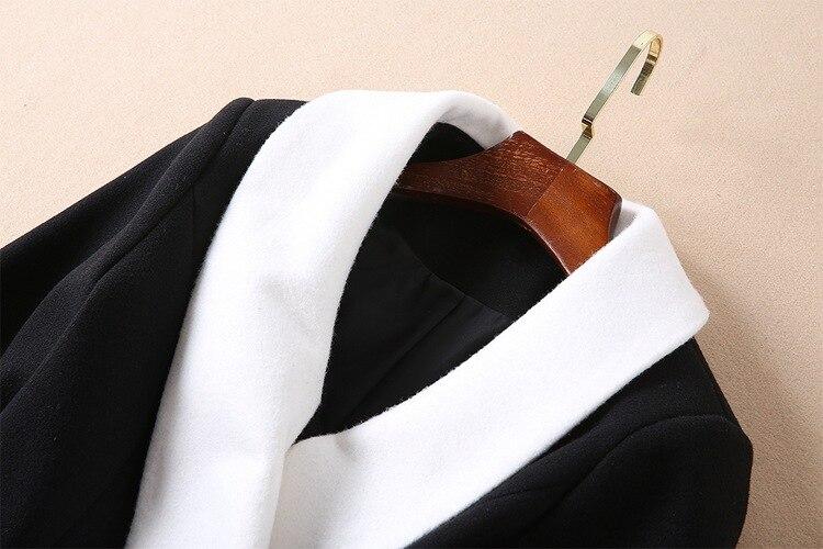 88e9e94ff3165 Elegante Blocco E6704 Casual Autunno Inverno Donne Di Cappotto Lana Lavoro  Bianco Vestito Sottile Spessore Monopetto Delle Caldo Lungo Nero OwBYR