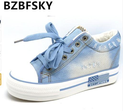 Vintage Water Wash Denim Shoes 2016 Breathable Platform Shoes Women Casual Canvas Shoes Thick Sole Trainers Zapatillas