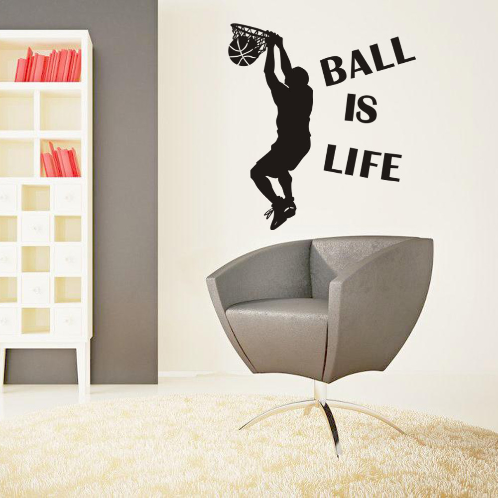NEW Ball Is Life Sport Playing Basketball Wall Sticker Mural Decor Decal Removable Adesi ...