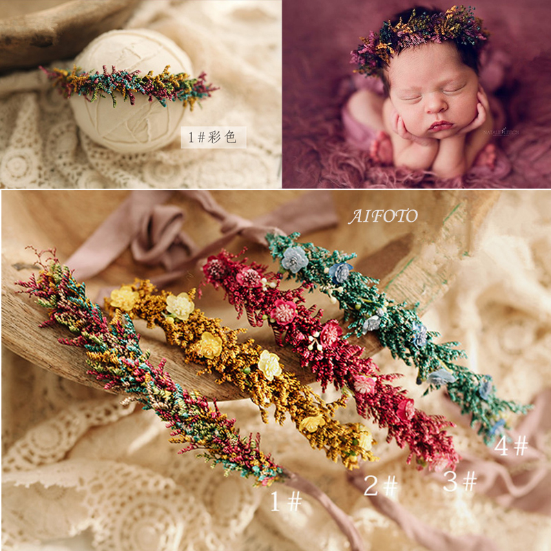 Baby Flower Headbands Newborn Photography Props For Girls Fox Ear Floral Crown Deer Fur Halo Prop Infant Unicorn Accessories