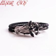 BLEUM CADE High Quality Stainless Steel Snake Bracelet Fashion Satan Goat Head Genuine Leather Bracelet