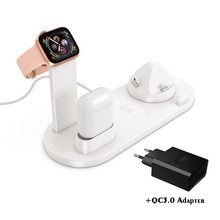 FDGAO 10W Fast Qi Wireless Charger Station 3 in 1 Charging Dock Stand for iPhone XS XR X 8 Plus Airpods For Apple Watch 1 2 3 4 fdgao 3 in 1 charging dock station stand for airpods apple watch 10w fast qi wireless charger for iphone x xs max xr 8 7 6 plus