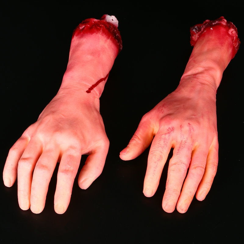 Horror Halloween Trick Toys Blood Severed Bloody Gadgets Scary Latex Bloody Cut Hand Bone Halloween Joke Artificial Broken Hand