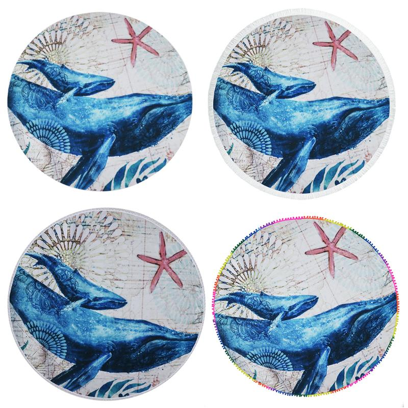 New Arrivals Fashionable Women Scarves Sunbathe Round Beach Towel Blue Big Sea Animal Printed Useful Circle Mats Female Shawls