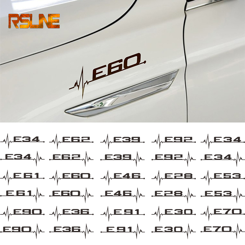 2pc Black Car Sticker Windows Door Decal Styling For BMW E28 E30 E34 E36 E37 E38 E39 E39 E46 E60 E80 E90 F10 F20 F30 Car Styling