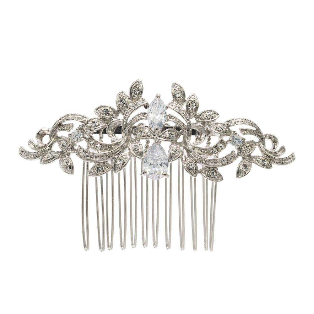 Rhinestone Crystals Vintage Silver Plated Әйелдер Hairpins Hair Combs Bridal Wedding Hair Әшекейлер Аксессуарлар 4012r
