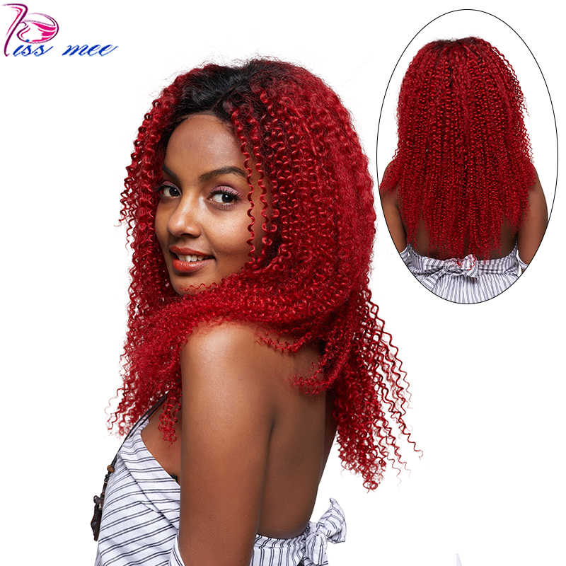 KISS MEE кудрявый парик с кружевом спереди Ombre 1B/красный предварительно сорванный Preuvian Lcce передний парик человеческих волос для черных женщин Remy Детские Волосы