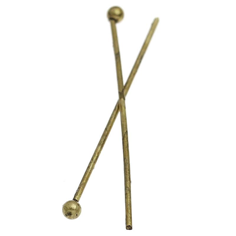 Zinc Metal Alloy Ball Head Pins Antique Bronze 3cm(1 1/8