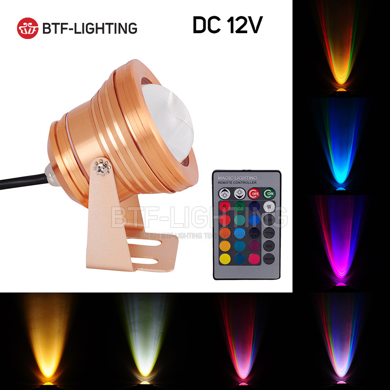 10W Golden Case RGB 12V LED Underwater Floodlight Swimming Pool Light IP68 Waterproof Lighting foco with Convex Glass Spot light