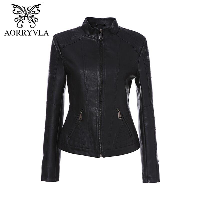 AORRYVLA 2019 Nouveau Printemps veste en cuir Femmes Noir Couleur Mandarin Col Fermetures À Glissière Courte Femelle Faux vestes en cuir qualité supérieure - 2