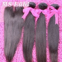 Free Shipping 7A Indian virgin hair Straight 1pc 4X4 size Lace closure with 3pcs hair bundles Ms lula hair