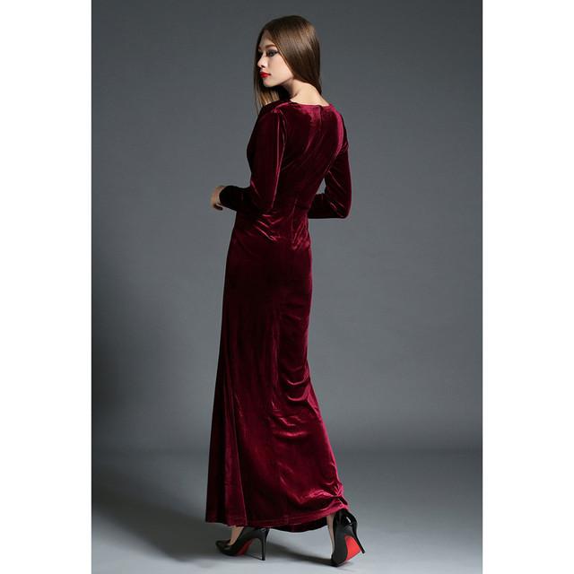 2017 Autumn Winter Evening Party Dresses Red Velvet Dress Women Vintage Sexy High Split Long Maxi Dresses Runway Vestido Longo