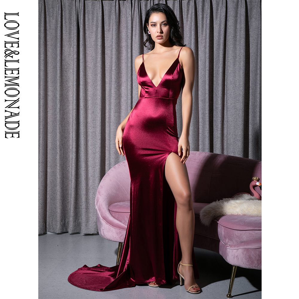 Love Lemonade Sexy Deep V Neck Burgundy Cut Out Sling Open Back Bodycon Long Dress LM81222