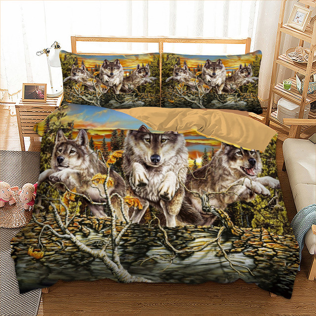 Wolf Family Bedding Set Twin Full Queen King Double Size Happiness Family sunbathing Duvet Cover Set Animal Bedclothes 3 pieces