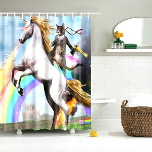 Image 1 - Dafield Cat Shower Curtain Cool Animals Funny Kitten Cat Taking a Gun With Riding a Horse Bathroom Shower Curtains with 12 Hooks
