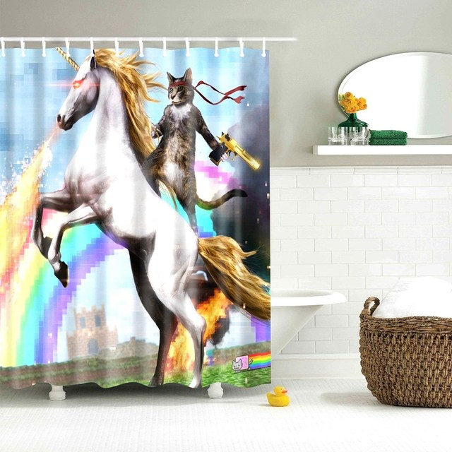 Dafield Cat Shower Curtain Cool Animals Funny Kitten Cat Taking a Gun With Riding a Horse Bathroom Shower Curtains with 12 Hooks