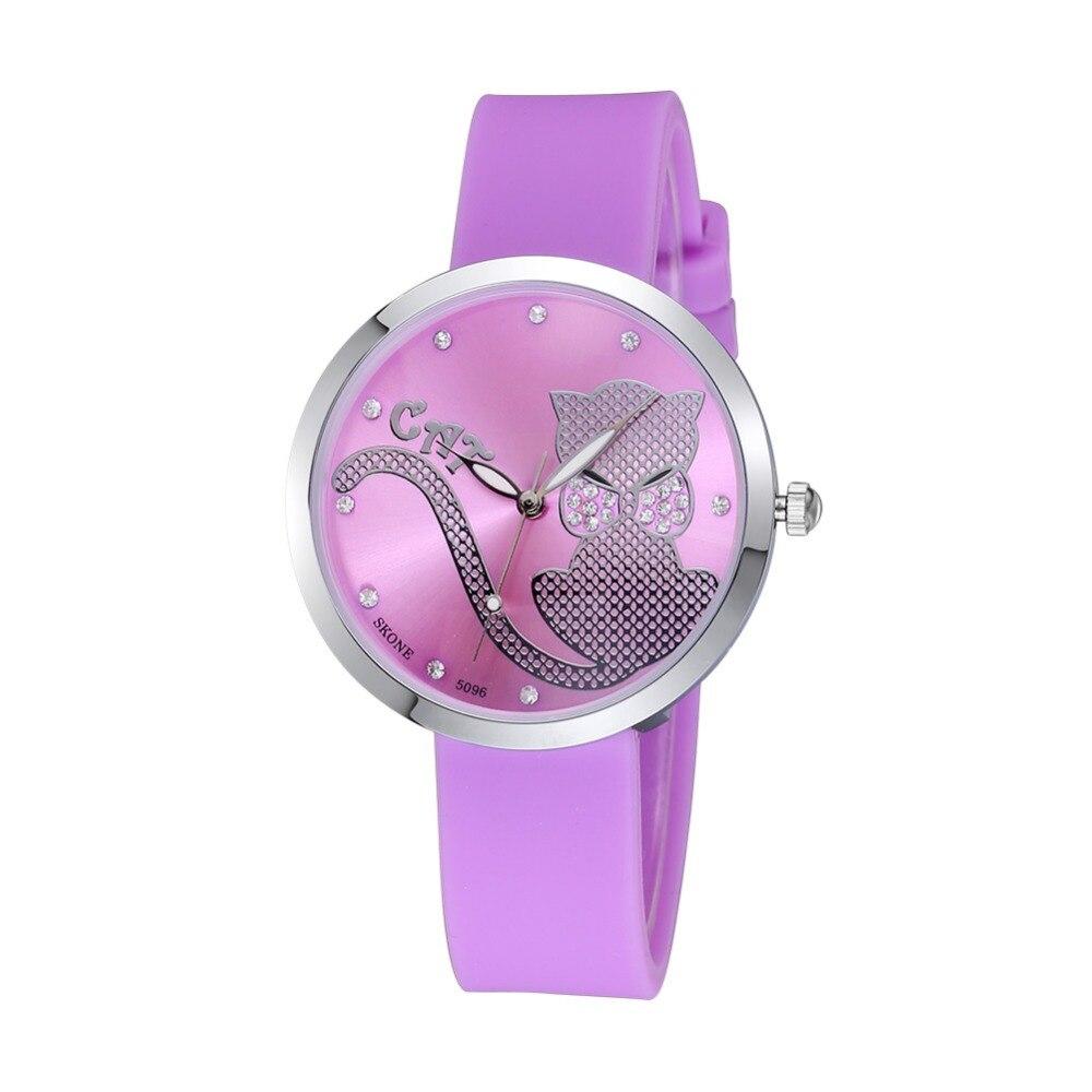New Skone Design Ultra Thin Dial Fashion Girls Cute Watch Silicone ...