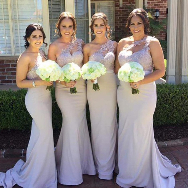 Y One Shoulder Mermaid Bridesmaid Dresses 2018 Glamorous Liques Simple Floor Length Party Gowns Robe De