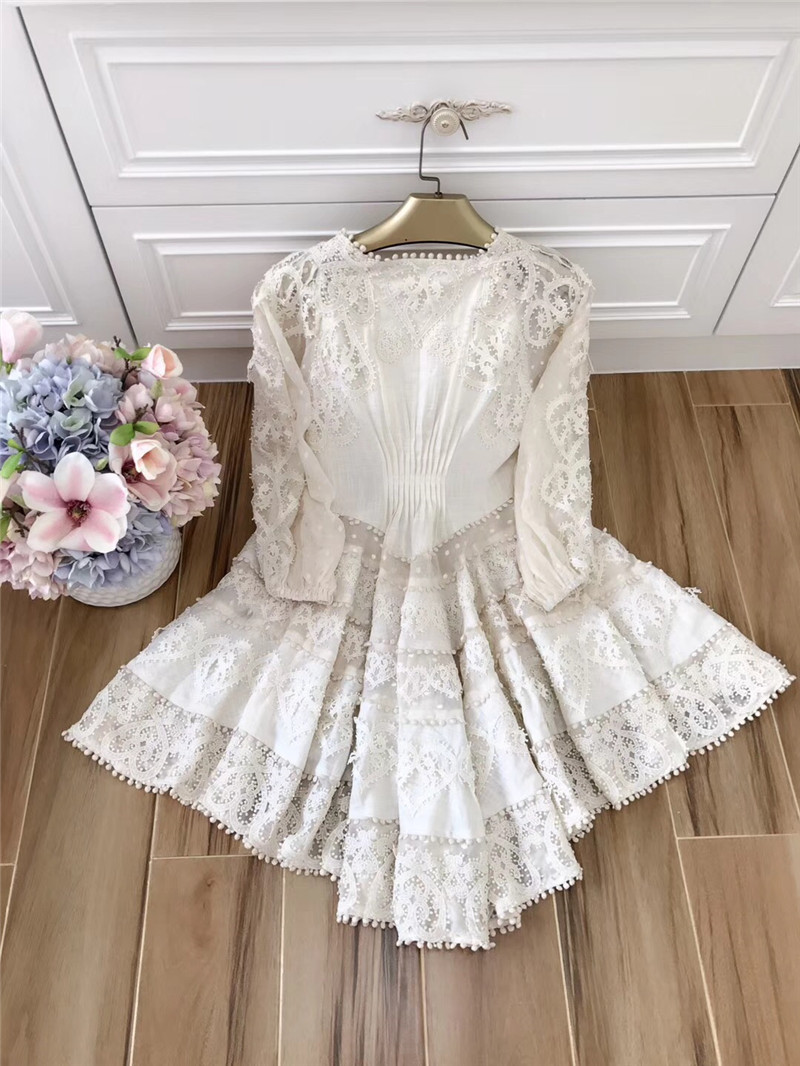 New Princess Women's Dress Casual Party Club Ladies Sexy Deep V-Neck Hollow Out Cotton Lace Embroidery a-line Summer Dress Mini 2