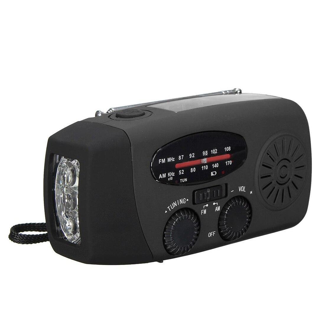 PräZise Wasserdichte Tragbare Handkurbel Solar Radio Am/fm 3 Led Taschenlampe Handy-ladegerät Schwarz Unterhaltungselektronik