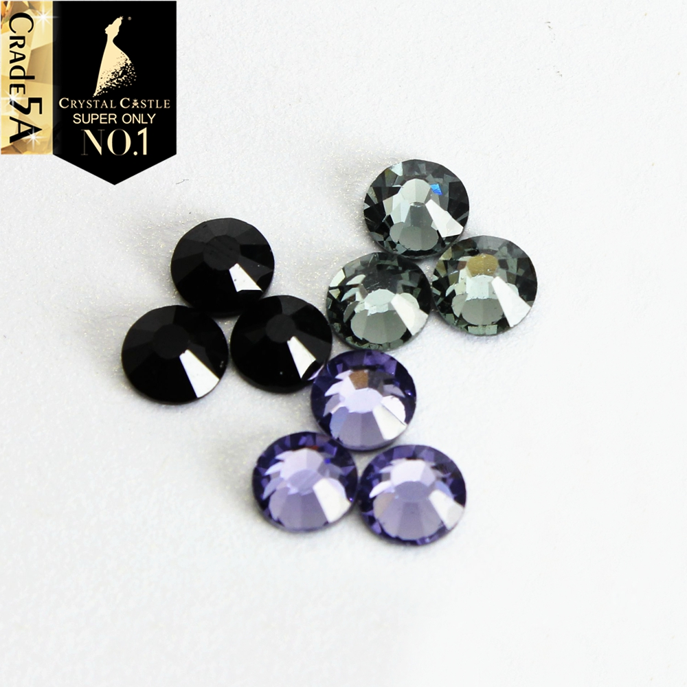 Crystal Castle Jet Black Diamond Tanzanite Glas Crystal Strass Flatback Steen Hot Fix Rhinestone Hotfix Voor trouwjurken