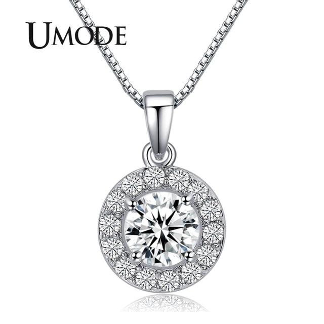 UMODE Hearts & Arrows cut 0.6 carat Top Quality AAA+ CZ Cubic Zirconia Round Pendant Necklace UN0012