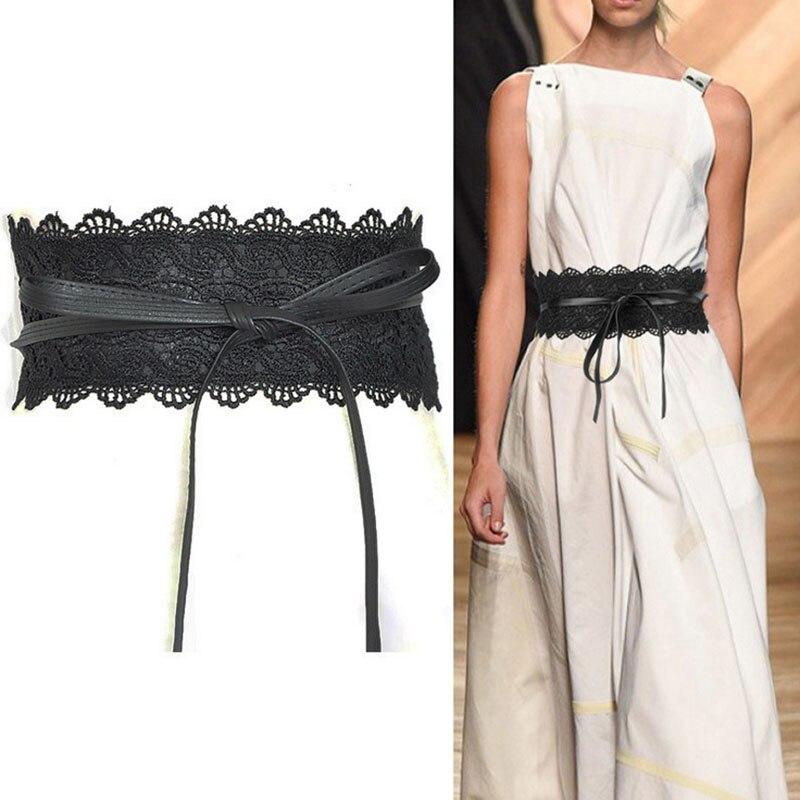 Fashion New Bow Fold Lace Cummerbund Woman Belt Wide Women's Belts Punk Fashion Dress Waistbands Lady Dress Accessories