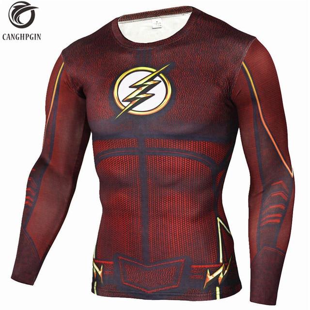 037d7c6c82d Anime The Flash 3D Printed T Shirts Running Long Sleeve Sport Shirt Men  Quick Dry Fitness Jerseys Top Mens Rashgard MMA Tights